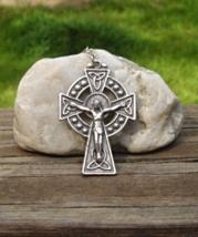 Celtic Cross Crucifix Pendant, Rosary Cross, Signed ERIN - $15.00