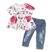 Toddler Girl Clothes Infant Summer Ruffle Outfits Shirt Sleeve Floral T-... - $17.35