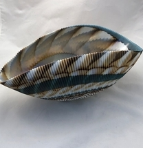 Persian Green/ Mother of Pearl Colors Murano Glass Laguna Bowl - $258.00