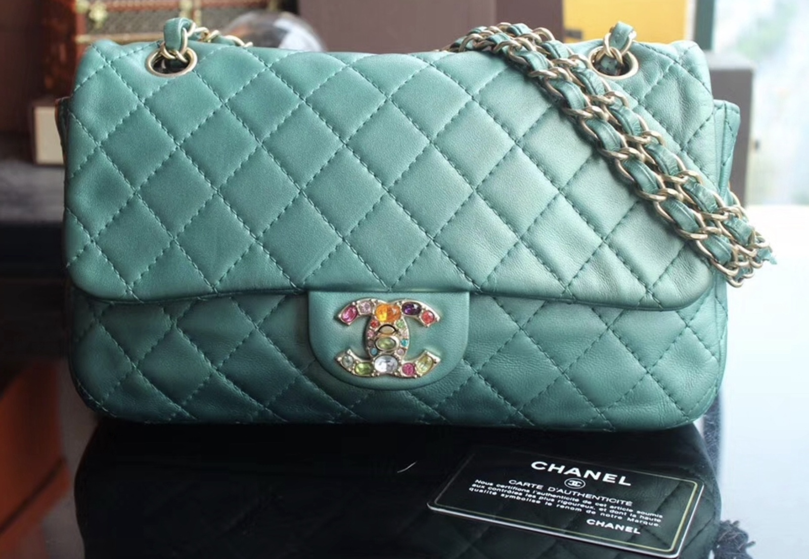 100% Authentic Chanel Limited Edition Turquoise Jewel CC Flap Bag GHW