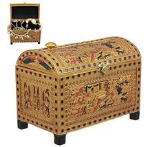 "Ebros Beautiful Golden Egyptian Hieroglyphic Embellished Trinket Box 6"" Long God - $43.55"