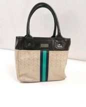 Tommy Hilfiger small tote logo leather trim brown - $18.99