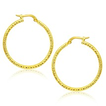 14k Yellow Gold 0.98in Women's Tube Textured Round Hoop Earrings - $311.02