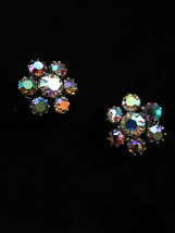 50s-60s WEISS Signed Sparkling Rhinestone Earrings W/ Aurora Borealis Sh... - $33.00