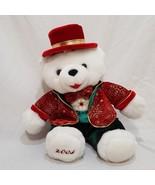 "Christmas Boy Teddy Bear Dan Dee Plush Stuffed 2003 11"" White Red Snowflake - $18.98"