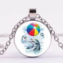 PLAYFUL BEACH DOLPHINS CABOCHON NECKLACE  (8639)   >> COMBINED SHIPPING &l - $2.97