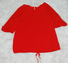 Anthropologie Willow & Clay Flowy Blouse Drawstring Waist Melon Rayon Womens L - $14.80