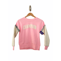 NWT Champion Faux Shearling Sleeve Sweatshirt Pullover Pink M Medium - $19.16