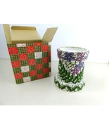 "Pillar Candle Holder 5"" Tall Resin Mosaic Floral - $16.75"