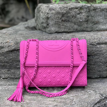 Tory Burch Fleming Matte Crazy Pink Convertible Shoulder Bag - $383.00