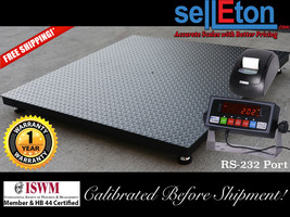 """Floor Scale / Pallet size 40"""" x 40"""" with indicator & printer. 5,000 lbs ... - $673.88"""
