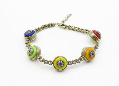925 Sterling Silver - Vintage Topaz & Sapphire Accent Chain Bracelet - B6306 image 2