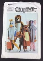 Sewing Pattern 7118 Costume Child Boy Girl Lion Elephant Chicken Fox Unc... - $9.40