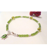 Handcrafted Green Crystal Beaded Ankle Bracelet with Turtle Charm - $9.99