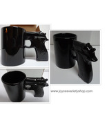 GUN MUG Handgun Grip Coffee Mug Novelty NIB Black Ceramic - $14.99