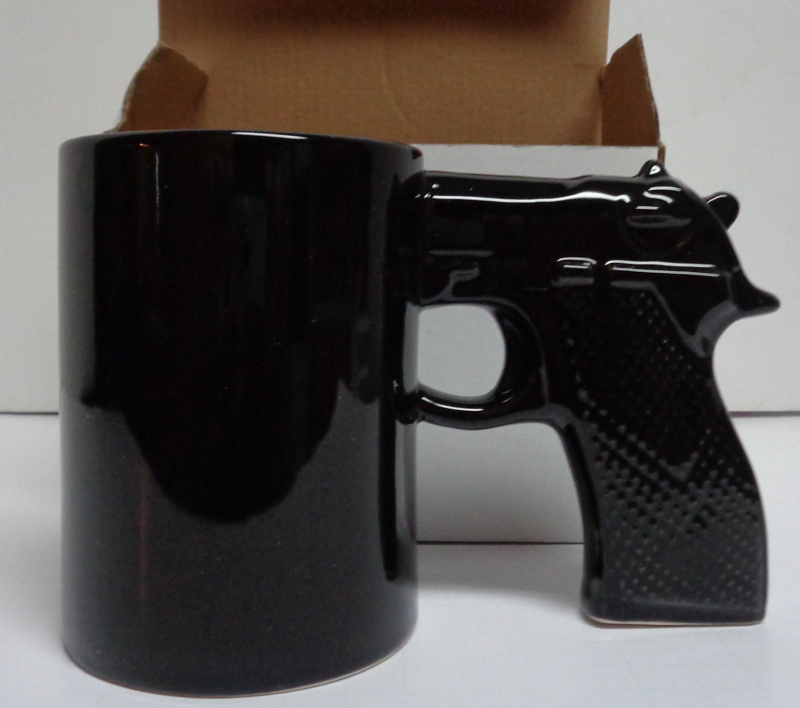 GUN MUG Handgun Grip Coffee Mug Novelty NIB Black Ceramic