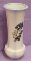 WHITE VASE BLUE ACCENTS ROSE FLOWER DECAL ON THE SIDE - $9.89