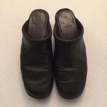 EA Etienne Aigner Black Leather Clog Mules Shoe... - $18.68