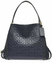 HTF!! NEW COACH EDIE 31 SIGNATURE C LEATHER MDNGHT NAVY TOTE HANDBAG PUR... - $391.05