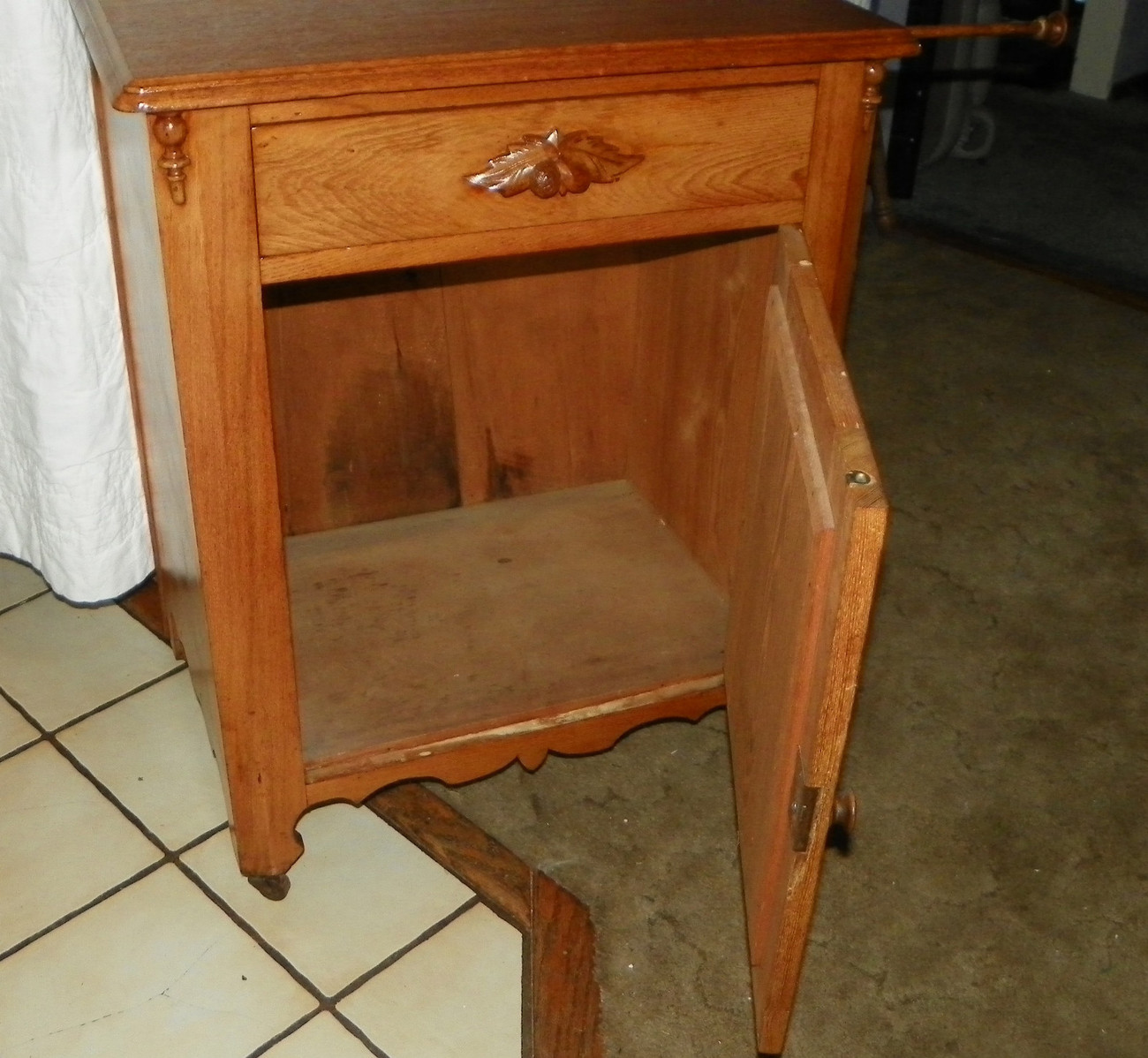 Mid 1800's Chestnut Washstand Cabinet with Towel Rack