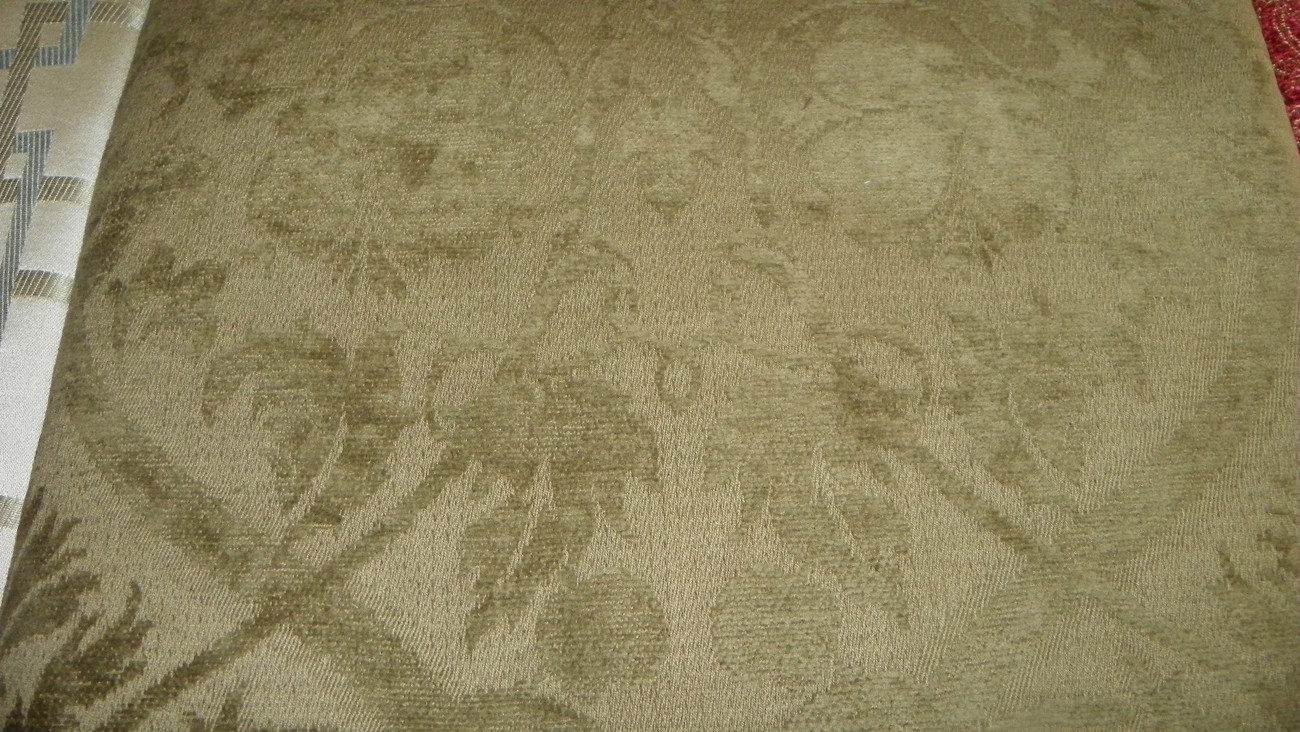 Olive Green Print Chenille Upholstery Fabric 1 Yard F742