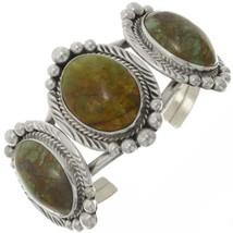 HANDMADE Three Stone Turquoise Cuff Colorado Kings Manassa Sterling Brac... - €448,19 EUR