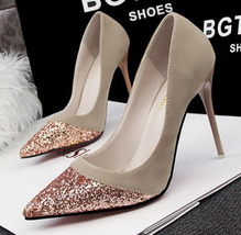 PP051 bling bling head high heeled pumps, spell color, size, 34-39, khaki - $48.80