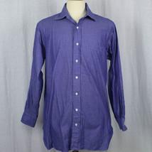 Robert Talbott Men Long Sleeve Blue 100% Cotton Shirt Sz 15 1/2- 34 IMPE... - €19,84 EUR