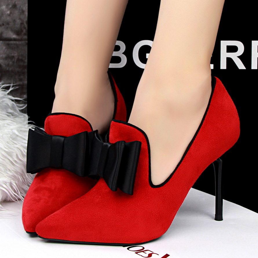 Primary image for PP052 sweet high heeled pointed pumps w bow, size, 34-39, red