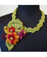 Handmade Crocheted Free-Form Floral Necklace/Brooch - $22.00