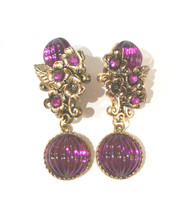 Vintage 80s Purple Floral Dangle Clip Earrings - $34.99