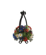 Mid Century Wrought Iron Hanging Planter, Vintage Floral Arrangement - $59.00