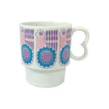 Mid Century Coffe Cup Mug, Mod Pink and Turquoise Bird and Flowers - $12.99