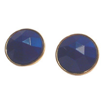 Vintage Faceted Faux Lapis Button Earrings. Gold Tone Pierced Earrings - $7.99