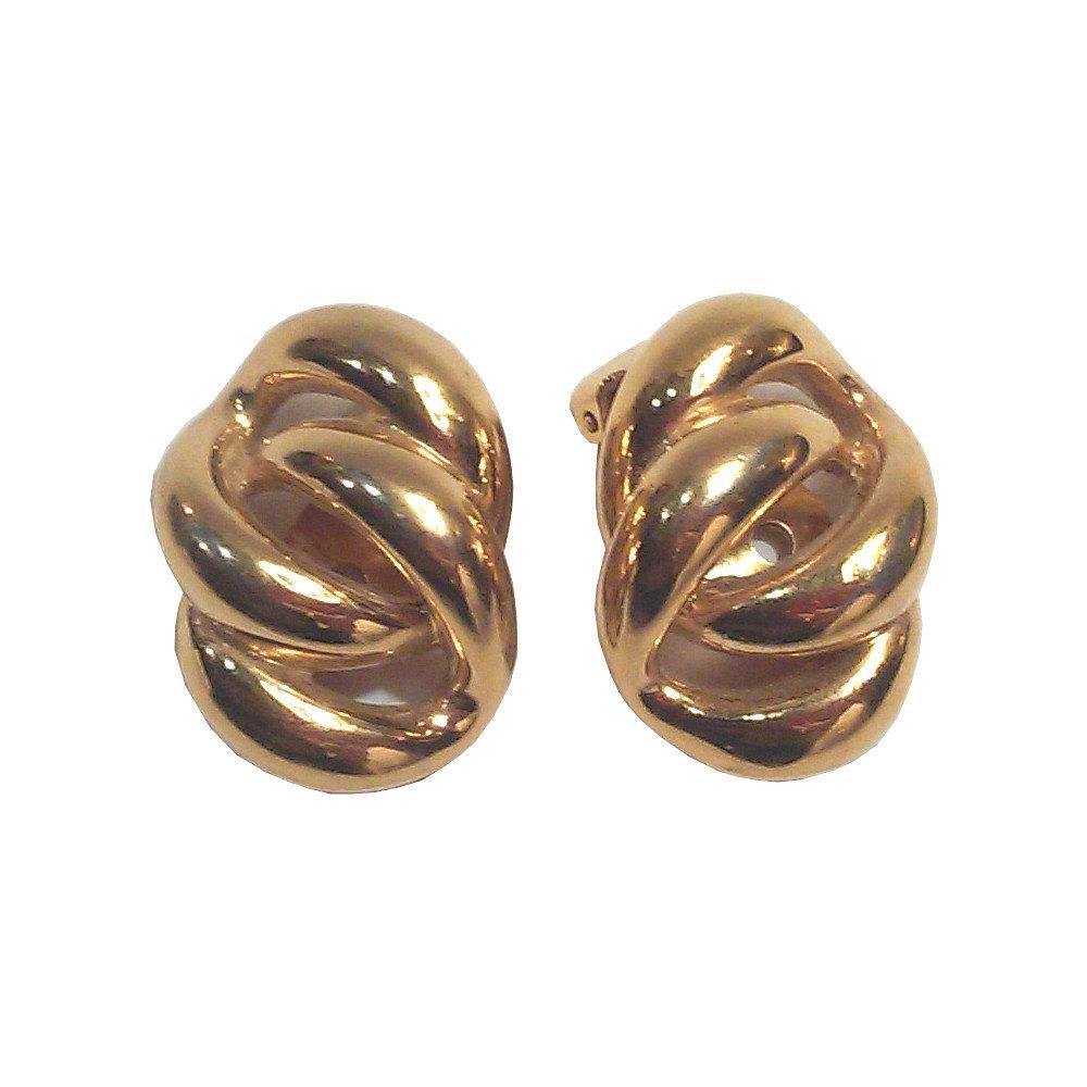 Vintage Napier Modernist Chain Link Gold-tone Clip On Earrings - $139.00