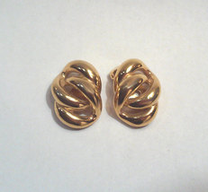 Vintage Napier Modernist Chain Link Gold-tone Clip On Earrings image 2