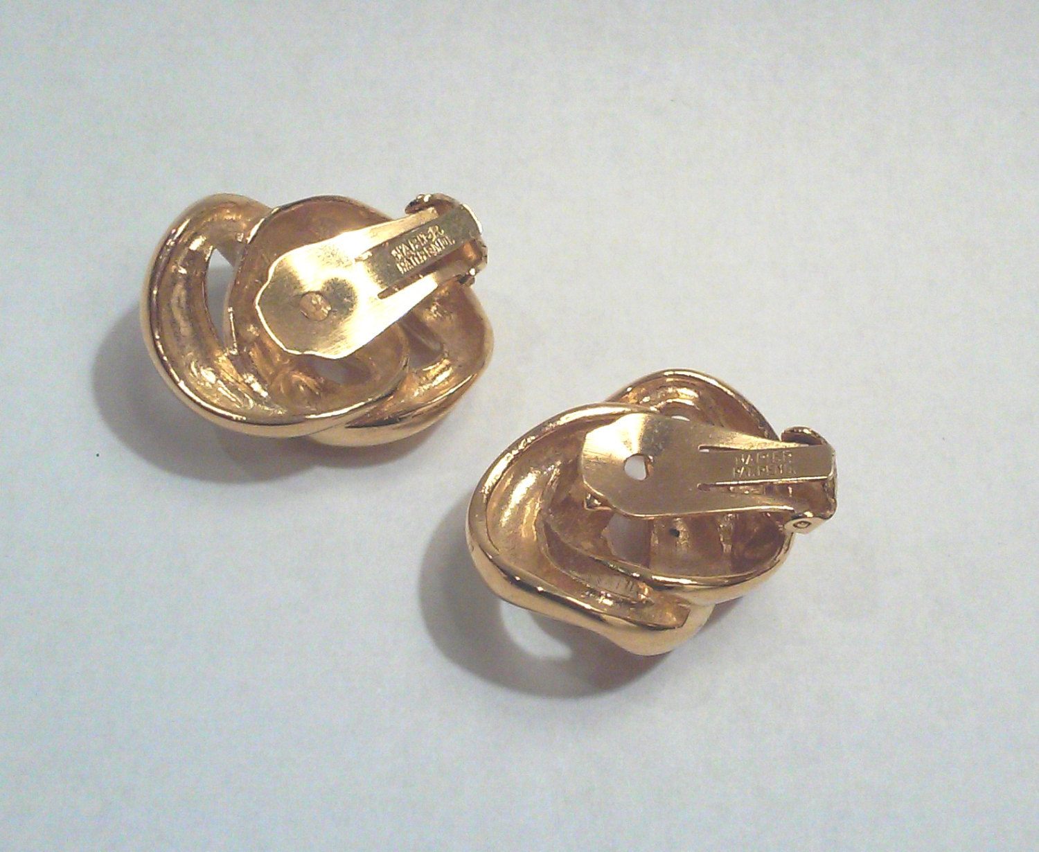 Vintage Napier Modernist Chain Link Gold-tone Clip On Earrings image 3
