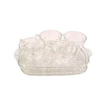 Vintage Watermelon Seed Glass Dishes, Luncheon Plates and Cups-Eight Pieces - $36.00