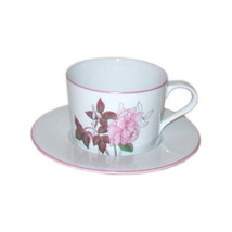 Block Spal Cup and Saucer, Western Rose Pattern, Portugal - $19.99