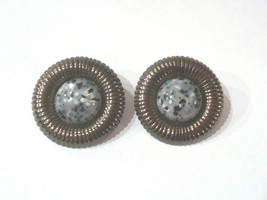 Vintage 80s Gunmetal Black and White Glass Cabochon Button Earrings - $12.99