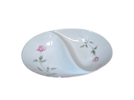 Oval Divided Serving Bowl, White Porcelain with Pink Roses-Stylehouse Japan - $25.00
