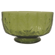 Vintage Mid-Century Green Glass Footed Planter - $16.54