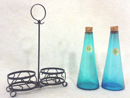 Japanese Turqoise Blown Glass Oil and Vinegar C... - $34.00