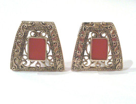 Vintage Etruscan Revival Trapezoid Clip Earrings with Pink Enamel Insets - $42.00