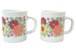 Vintage Mid Century Ceramic Mugs with Pop Atomic Floral Design, Japan, Pair - $19.54