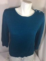 Liz Claiborne Women Teal Green Blouse Size L Long Sleeve Scoop Neck Bin55#3 - $13.09