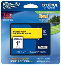 """Brother Genuine P-Touch TZE-651 Tape, 1"""" (24 mm) Standard Laminated P-To... - $23.92"""