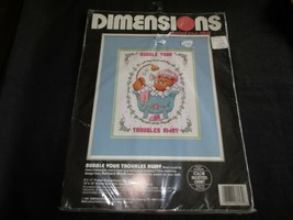 """1994 Dimensions BUBBLE YOUR TROUBLES AWAY Cross Stitch KIT #3713 - 9"""" x 11"""" - $7.92"""