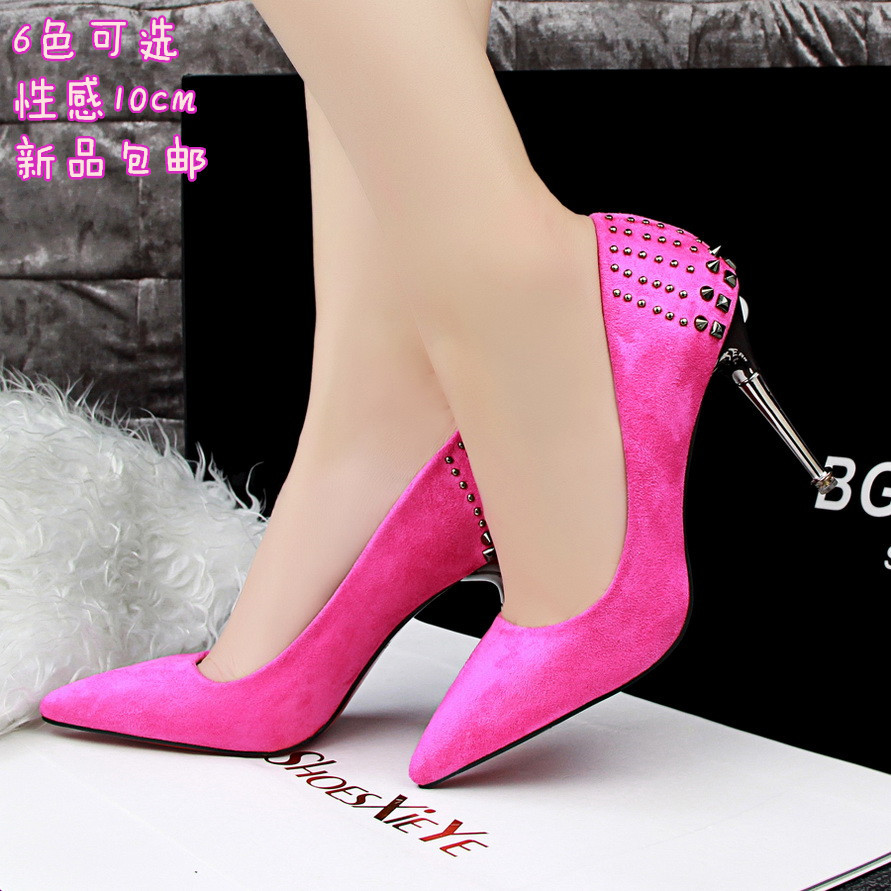 Primary image for PP056 Elegant pointed pump w coating heels & studs, size, 34-39, rosary Red