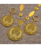 Anniy Pohnpei Flag Pendant Beads Necklace Earrings sets for Women Gold C... - $28.57